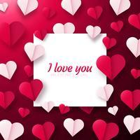 Valentinsgrußtageshintergrund mit den Papierorigamiherzen geteilt zur Hälfte.