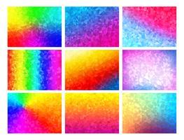 Polygon vektor mosaik bakgrunds set, färgglada abstrakta mönster, illustration