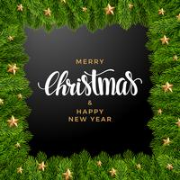 Julgran bakgrund, realistiskt utseende, semester design vektor
