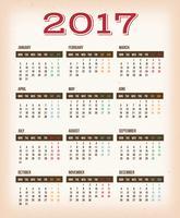 Weinlese-Design-Kalender für das Jahr 2017
