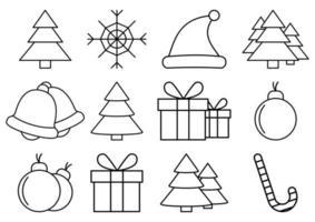Weihnachtsikonen eingestellt. Urlaub Grafiken. Satz von winterbezogenen Vektorliniensymbolen. Premium-Paket mit linearen Symbolen. Websymbole für Websites und mobile Apps. trendiges Design. Vektor