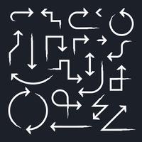 Hand gezeichneter Pfeil eingestellt auf Schwarzes vektor