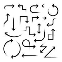 Hand gezeichneter Pfeil eingestellt auf Weiß vektor