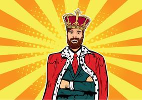 Hipster Business King. Affärsman med skägg och krona. Man ledare, framgång chef, mänskliga ego. Vektor retro popkonst komisk drown illustration.