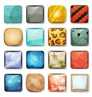 Knappar och ikoner inställda för mobilapp och spel Ui