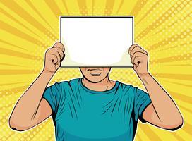 Geschäftsmann mit leerem Papier vor Gesicht. Bunte Vektorillustration in der Retro- komischen Art der Pop-Art.