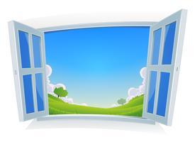 Vår eller sommarlandskap vid fönstret