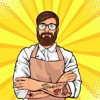 Skäggig man i glasögon med tatuering på armar vektor illustration i komisk popkonst stil. Hipster hantverkare eller arbetare i förkläde