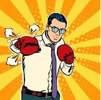 Mann in den Boxhandschuhen vector Illustration in der komischen Pop-Art-Art. Geschäftsmann bereit, sein Geschäftskonzept zu kämpfen und zu schützen. Fight Club. Boxen und Handschuh, Boxerstärke. Vektor-Illustration