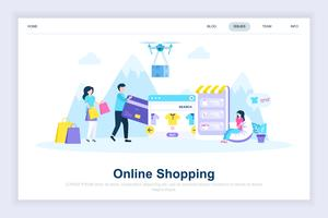 Modernes flaches Designkonzept des Onlineeinkaufs