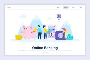 Online banking modernt plattdesign koncept vektor