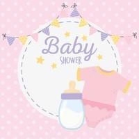 Babyparty, rosa Body und Milchflaschenwimpel rundes Etikett vektor