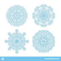 Schneeflockenvektorsymbole, Weihnachtsschneeikonen eingestellt vektor