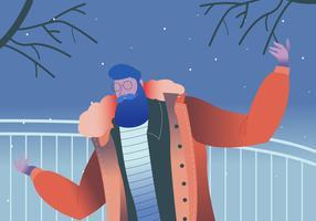 Skäggig Man Porträtt Modell Med Vinter Outfit Vektor Illustration