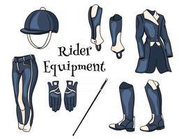 Outfit Rider ein Set Kleidung für einen Jockey Stiefel Pedjak Hose Peitsche Helm im Cartoon-Stil vektor