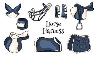 Pferdegeschirr eine Reihe von Reitausrüstung Sattel Zaumdecke Schutzstiefel im Cartoon-Stil vektor