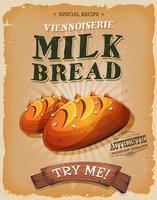 Grunge och tappning mjölkbrödaffisch vektor