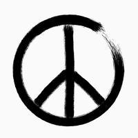 Friedenssymbol, Hand gezeichnete Bürste, Illustration