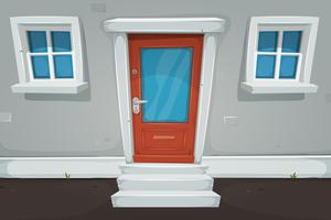 Karikatur-Haustür und Windows in der Straße