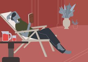 Mann genießen, Buch in der gemütlichen Einstellungs-Vektor-Illustration zu lesen