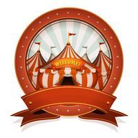 Vintage cirkus märke och band med stor topp vektor