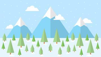 Söt Vinter Skogsvektor vektor
