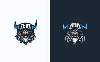 Zeus Esport-Gaming-Maskottchen-Logo-Vorlage für das Streamer-Team. Esport-Logo-Design mit modernem Illustrationskonzept für Abzeichen-, Emblem- und T-Shirt-Druck vektor