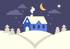 Hus I Vinterlandskap vektor