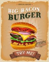 Grunge och tappning stor bacon Burger Poster