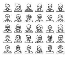 Menschen Avatar Umriss Vektor-Icons vektor