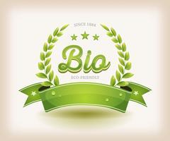 Bio- och Eco-etikett med grön banner vektor