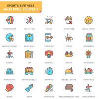Sport och fitness ikonuppsättning