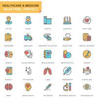 Sjukvård och medicin ikonuppsättning