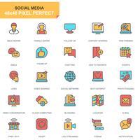 sociala medier och nätverk ikonuppsättning vektor