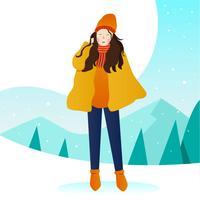 Kvinnor Modell Potrait Outdoor Winter Vector