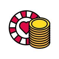 Casino-Chip mit Herz und Münzen vektor