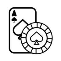 Casino-Pokerkarte und Chip mit isoliertem Spatensymbol vektor
