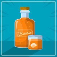 Platt Bourbon Med Glas Vektor Illustration