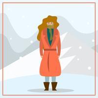 Flat Female Model Porträtt på vintern utomhus vektor