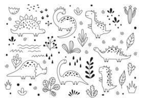 süße Dinosaurier und tropische Pflanzen im skizzenhaften Umrissstil. lustige Cartoon-Dino-Set. handgezeichnetes Vektor-Doodle-Set für Kinder vektor