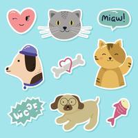 Katt och hund klistermärke vektor
