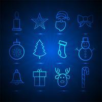 Vackra jul ikoner sätta element blå bakgrund