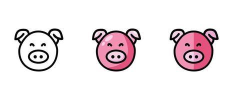 Umriss- und Farbsymbole eines Schweins vektor