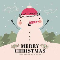 Netter Schneemann-Charakter, der mit Weihnachtsbaum, Schnee und Himmel lächelt. vektor