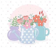 Einmachgläser und Gießkanne Blumen Blätter Dekoration vektor
