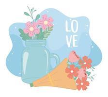 Einmachglas und Strauß Blumen romantische Dekoration vektor