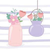 Einmachgläser hängende Blumen rustikale romantische Dekoration vektor