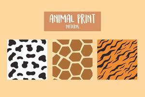 Set von Tierdruckmustern Giraffenkuh und Tiger vektor