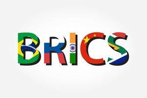 brics verband von 5 ländern brasilien russland indien china südafrika vektor