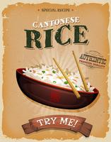 Gebratener Reis mit asiatischen Essstäbchen auf Weinlese-Plakat